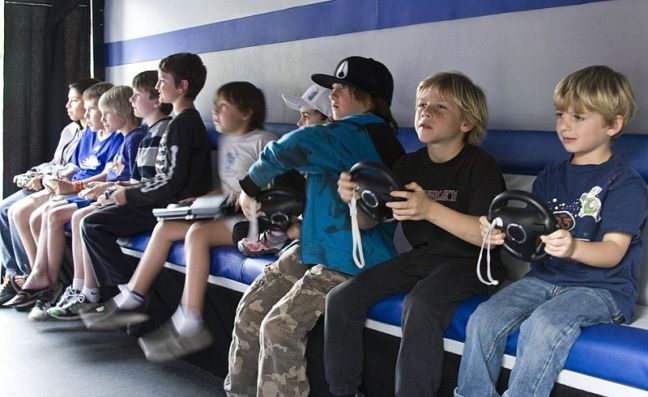 Children playing Mariocart