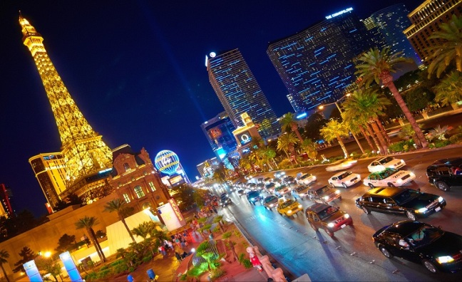 The middle of the Las Vegas Strip at night