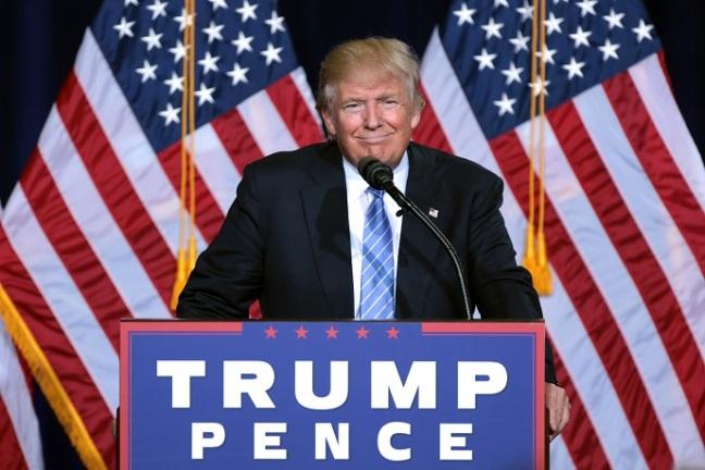 Donald Trump looking pleased.