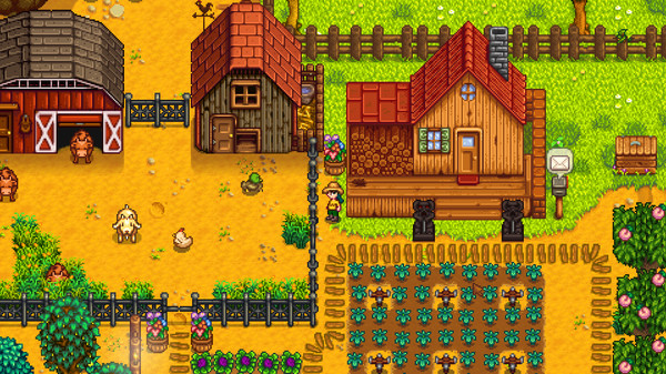 An example of a farm in Stardew Valley