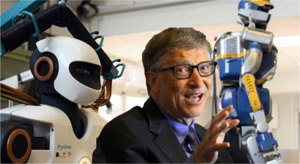 Bill Gates posing with two robots